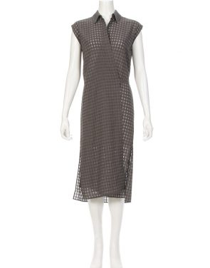 photo Checkered Sleeveless Wrap Tie Dress by T By Alexander Wang 403404F16, Heather Grey color - Image 2