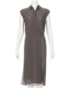 photo Checkered Sleeveless Wrap Tie Dress by T By Alexander Wang 403404F16, Heather Grey color - Image 1