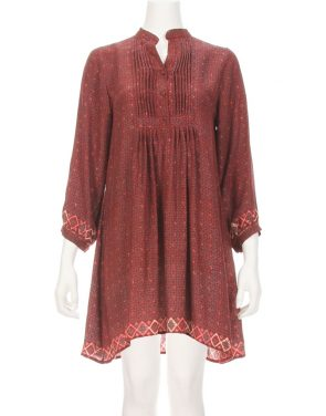 photo Sammi Long Sleeve Tunic Dress by Natalie Martin C008F16, Wine color - Image 1