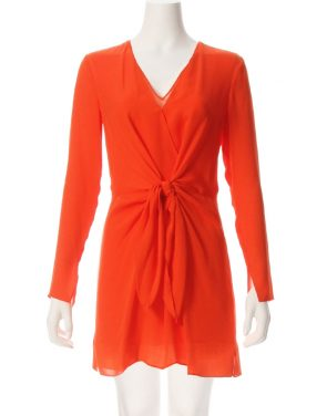 photo Long Sleeve Knot Front Dress by 3.1 Phillip Lim E1719762SGGF16, Red Poppy color - Image 1