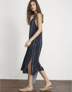 photo Riptide Stripe Print Blanc Midi Dress by Faithfull The Brand FF791S17, Navy color - Image 2