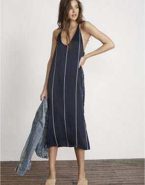 photo Riptide Stripe Print Blanc Midi Dress by Faithfull The Brand FF791S17, Navy color - Image 1