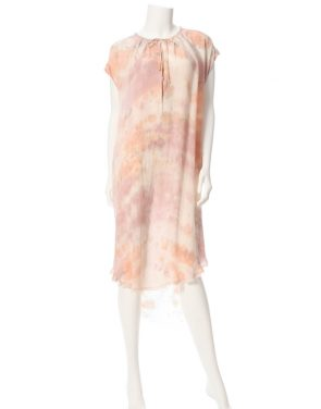 photo Shirred Combo Dress by Raquel Allegra Y64-6406F16, Rose Quartz Tie Dye color - Image 1