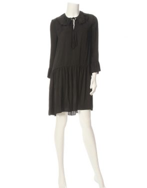 photo Ruffle Neck Dress by Raquel Allegra Y66-6469F16, Black color - Image 1