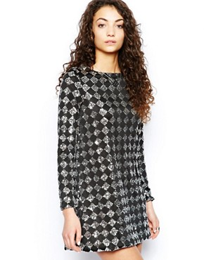 photo Sasa Diamond Sequin Dress by Motel, color Black/Silver - Image 1