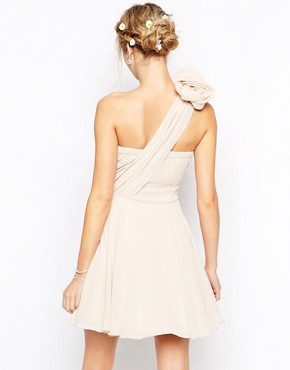 photo Prom One Shoulder Dress with Corsage Detail by TFNC, color Nude - Image 2