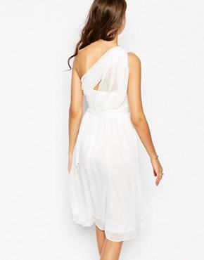 photo One Shoulder Soft Midi Prom Dress by True Decadence Tall, color Cream - Image 2