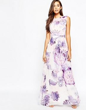 photo Floral Maxi Dress with Open Back by True Violet, color Purple - Image 2