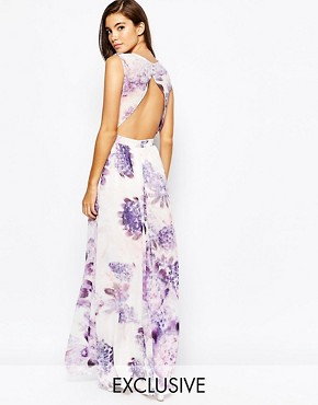 photo Floral Maxi Dress with Open Back by True Violet, color Purple - Image 1