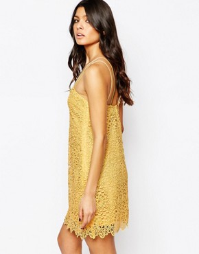 photo Lace Cami Mini Dress by Mango, color Yellow - Image 2
