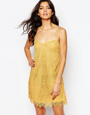photo Lace Cami Mini Dress by Mango, color Yellow - Image 1