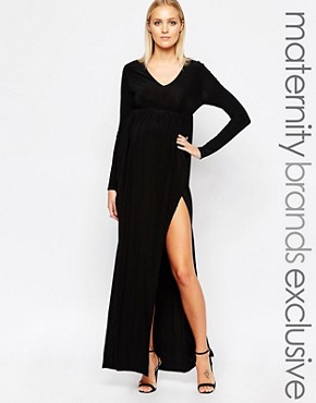 photo Plunge Neck Maxi Dress by Club L Maternity, color Black - Image 1