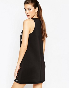 photo Shift Dress with Silver Domes by ASOS NIGHT, color Black - Image 2
