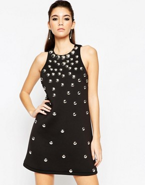 photo Shift Dress with Silver Domes by ASOS NIGHT, color Black - Image 1