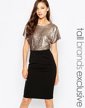 photo Sequin Bodice Pencil Dress with Wrap Back by Paper Dolls Tall, color Black - Image 1