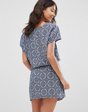 photo Printed V Neck Dress by JDY, color Maza Blue - Image 2
