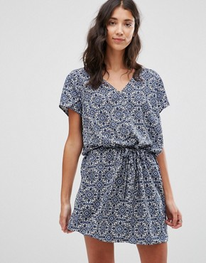 photo Printed V Neck Dress by JDY, color Maza Blue - Image 1