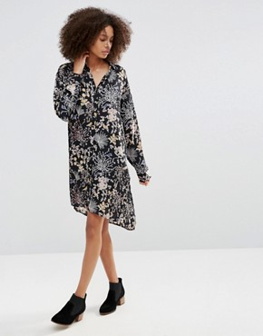 photo Floral Shirt Dress by Only, color Black - Image 1