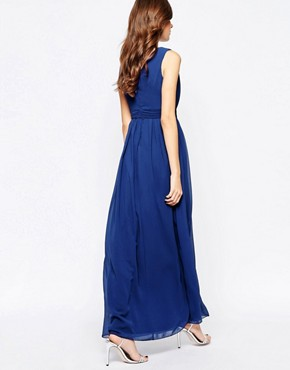 photo Maxi Dress with Embellished Plunge Detail by Little Mistress, color Blue - Image 2
