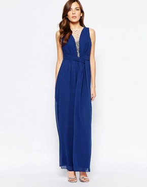 photo Maxi Dress with Embellished Plunge Detail by Little Mistress, color Blue - Image 1