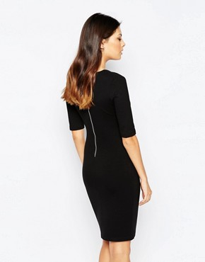 photo Lula Stretch 3/4 Sleeve Round Neck Dress by French Connection, color Black - Image 2