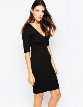 photo Lula Stretch 3/4 Sleeve Round Neck Dress by French Connection, color Black - Image 1