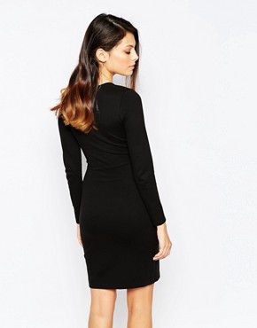 photo Lula Stretch Pinched Side Dress by French Connection, color Black - Image 2
