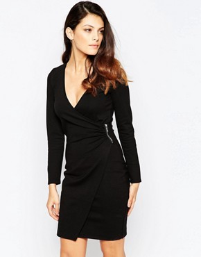 photo Lula Stretch Pinched Side Dress by French Connection, color Black - Image 1