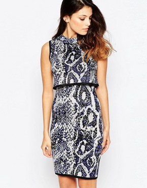 photo Spotlight Boa Highneck Dress by French Connection, color Monarch Blue Multi - Image 1