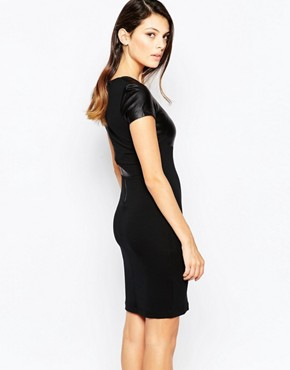 photo Midnight Short Sleeved Contrast PU Bodycon Dress by French Connection, color Black - Image 2