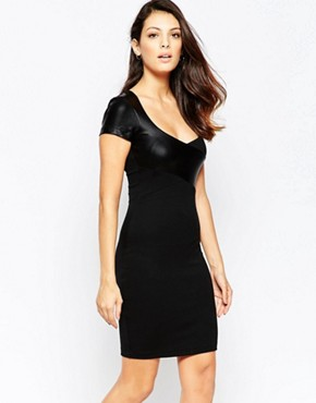 photo Midnight Short Sleeved Contrast PU Bodycon Dress by French Connection, color Black - Image 1