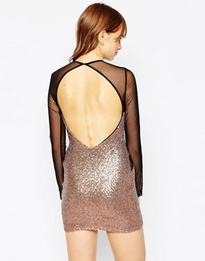photo Bound To You Sequin Dress With Mesh Insert by WYLDR, color Gold - Image 2