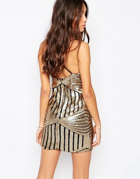 photo Pixie Slip Dress In Sequins by WYLDR, color Gold - Image 2