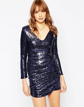 photo Viper Sequin Dress with Plunge Neckline by WYLDR, color Navy - Image 1