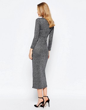 photo Bianca Metallic Round Neck Midi Dress by French Connection, color Black - Image 2