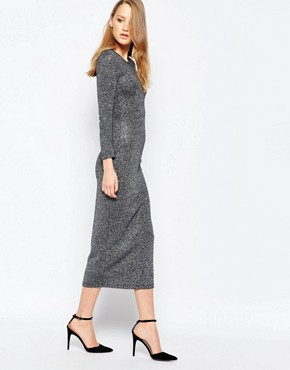 photo Bianca Metallic Round Neck Midi Dress by French Connection, color Black - Image 1