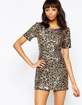 photo Leo Lux Dress by French Connection, color Gold Multi - Image 1