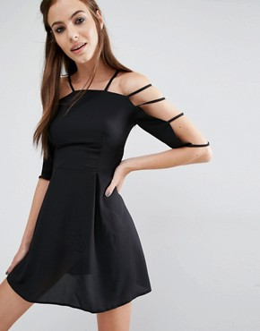 photo Cage Sleeve Dress by Love, color Black - Image 1