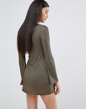photo Plunge Neck Bell Sleeve Dress In Stripe by Love, color Black/Gold - Image 2