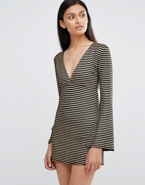 photo Plunge Neck Bell Sleeve Dress In Stripe by Love, color Black/Gold - Image 1
