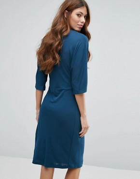 photo Knot Front Jersey Dress by Mango, color Blue - Image 2