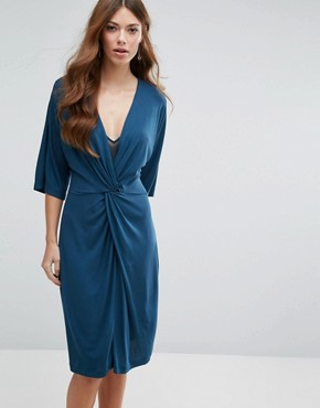 photo Knot Front Jersey Dress by Mango, color Blue - Image 1