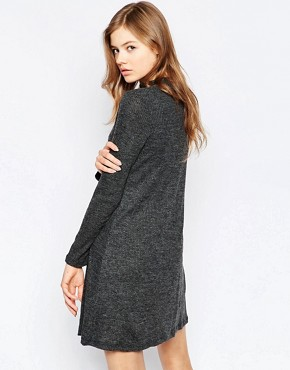 photo Long Sleeve Swing Dress by b.Young, color Black Melange - Image 2