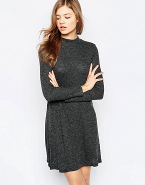 photo Long Sleeve Swing Dress by b.Young, color Black Melange - Image 1