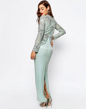 photo Linear Long Sleeve Embellished Maxi Dress by ASOS RED CARPET, color Mint - Image 2
