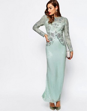 photo Linear Long Sleeve Embellished Maxi Dress by ASOS RED CARPET, color Mint - Image 1