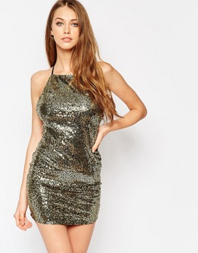 photo Midnight Sequin Slip Dress by WYLDR, color Gold - Image 1