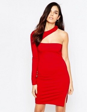 photo Asymetric Mini Dress by Twin Sister, color Red - Image 1