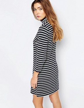 photo Mary Stripe Dress In Navy Stripe by Wood Wood, color Navy Stripe - Image 2