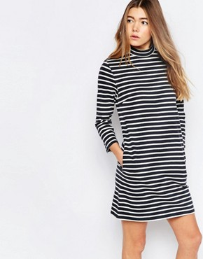 photo Mary Stripe Dress In Navy Stripe by Wood Wood, color Navy Stripe - Image 1